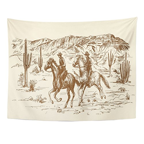 (TOMPOP Tapestry Ranch American Wild West Desert Cowboys Sketch Western Landscape Home Decor Wall Hanging for Living Room Bedroom Dorm 60x80 Inches)