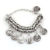 BESSKY Women's Bohemian Ethnic Vintage Silver Coin Anklet Bracelet - Turkish Jewelry