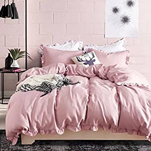 Lace Duvet Cover Set Queen Lightweight Soft Solid Color 3PC Bedding Set with Exquisite Flouncing by Hyprest Pink
