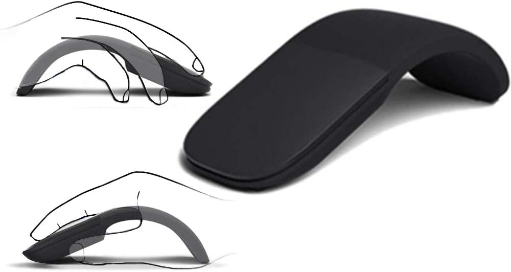 Slim and Portable 2.4Ghz Wireless Foldable Folding Arc Optical Mouse Foldable Bluetooth Mouse or Compatible with Notebook, PC, Laptop, Computer, MacBook.for Home,Office,Travel (Black)