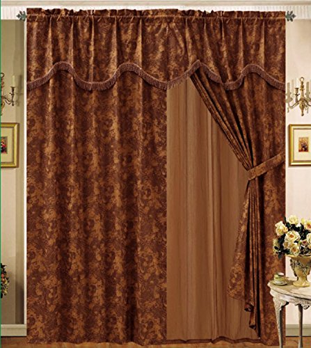 8 PC MODERN BROWN, BRONZE, and CAMEL Suede CURTAIN SET