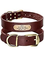 Didog Genuine Leather Dog Collars with Engraved Nameplate, Personalized Soft Leather Dog Collar with Custom ID Tag, Black/Brown/Green/Red for Medium Large Dogs