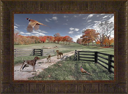 Cornered? By Todd Thunstedt 17.5x23.5 German Shorthair Pointer Dog Ring-necked Pheasant Hunting Outfitter Lodge Mossberg Weatherby Shotshell Framed Art Print Wall Décor Picture (Shorthair Pointer)