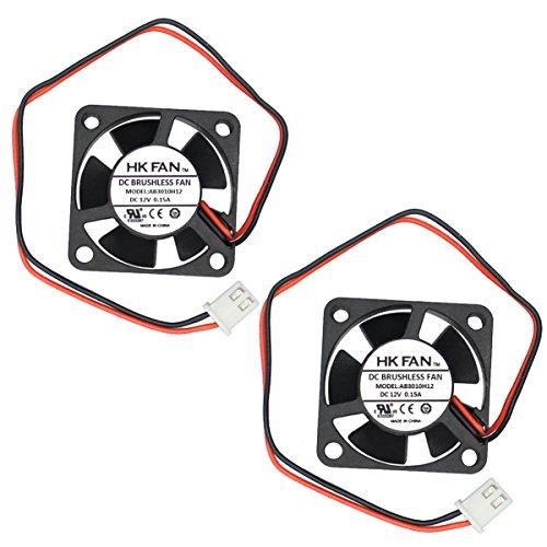 2packs 30mm x 30mm x 10mm 3010 12V 0.15A Ball Bearing Brushless DC Cooling Fan 2pin AB3010H12 UL TUV (Bearing Brushless Ball)