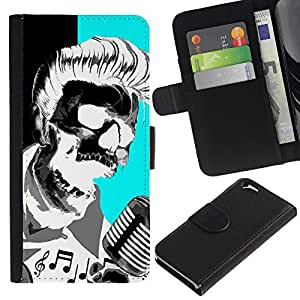 Graphic Case / Wallet Funda Cuero - Elvis Music Rock Roll Microphone Skull - Apple iPhone 6 4.7