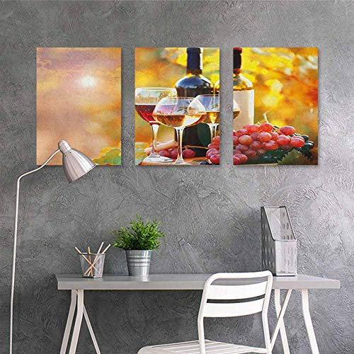 HOMEDD Anti-Fading Oil Painting,Wine Tasty Wine on Wooden Barrel on Grape Plantation Countryside Harvest Rural Growth,Contemporary Abstract Art 3 Panels,24x35inchx3pcs Orange Red Black