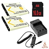 Two Halcyon 1200 mAH Lithium Ion Replacement Battery and Charger Kit + 16GB SDHC Class 10 Memory Card for Sony Cyber-shot DSC-W560 14.1 MP Digital Camera and Sony NP-BN1 by Halcyon