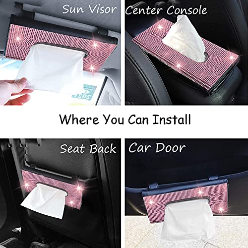 Yibesi Bling Car Tissue Holder, Crystal Sparkling PU Leather Hanging Car Visor Napkin Box, Car Accessories Universal Fit for Sun Visor, Backseat, Car Door, Center Console