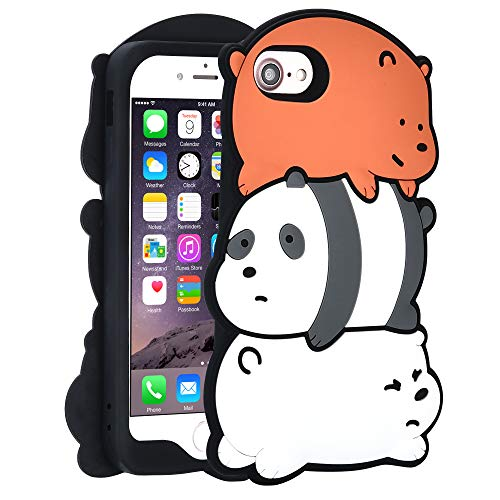 """TopSZ Bears Case for iPhone 8/iPhone 7/iPhone 6/6S 4.7"""" Silicone 3D Cartoon Hero Animal Cover,Kids Girls Teens Boys Man Cool Fun Cute Kawaii Soft Rubber Funny Character Cases for iPhone8/7/6/6S"""