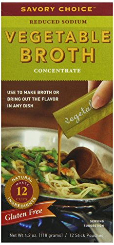 - Savory Choice Liquid Reduced Sodium Vegetable Broth Concentrate, 4.2 Ounce Box