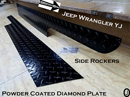 "J & O Carts Parts JEEP Wrangler YJ 6"" Black Powder Coated Diamond Plate Rocker Panel w/cut"