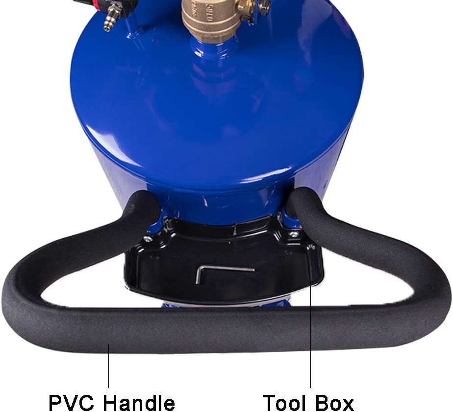 redsun 20 Gallon Portable Oil Drain Air Operated Oil Drain Tank Drainage Adjustable Funnel Height with Wheel for Easy Oil Removal Blue