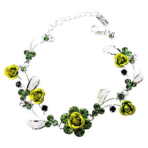Faceted Metal Rhinestone - Faceted Metal Rose & Crystal Rhinestone Mesh Leaf Bracelet Bridal Prom (Green)