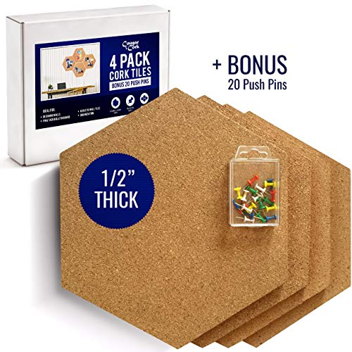 Premium Cork Board - Premium Hexagon Cork Board Tiles - Extra Large 11.8