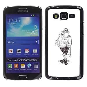 GOODTHINGS Funda Imagen Diseño Carcasa Tapa Trasera Negro Cover Skin Case para Samsung Galaxy Grand 2 SM-G7102 SM-G7105 - piernas aristócrata boceto hombre del arte gráfico de lápiz