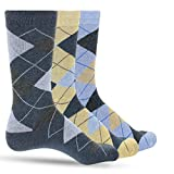 3 Pack of Premium Cotton Argyle Mens Blue Dress Socks For Men – Colorful Fashion - Tan Denim