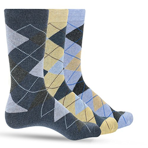 3 Pack of Premium Cotton Argyle Mens Blue Dress Socks For Men - Colorful Fashion - Tan Denim