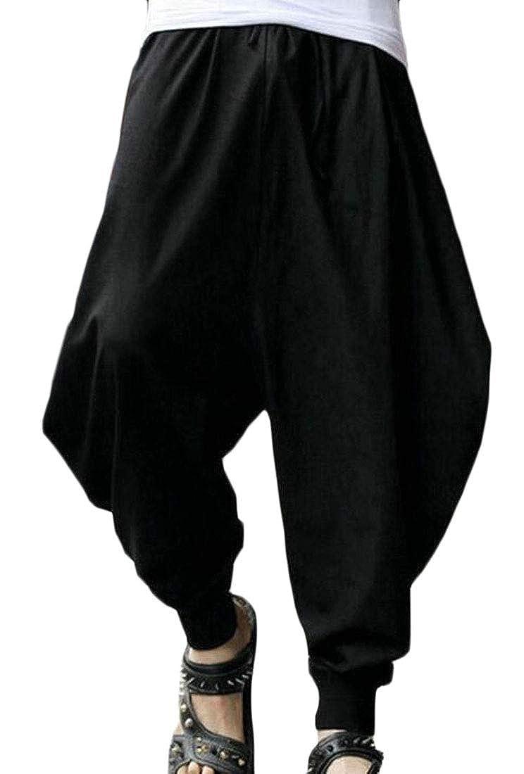 UUYUK Men Solid Loose Comfy Baggy Harem Trousers Casual Jogger Pants