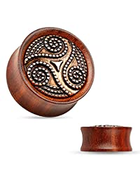 "Pair of 1/2"" Dotted Tribal Swirl Rose Wood Saddle Fit Double Flared Plug FE1"