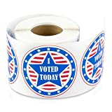 TUCO DEALS 2 Inch Round - I Voted Today with Red, White, and Blue Circle American Flag Stickers Labels (Red/Blue, 2 Rolls Per Pack)
