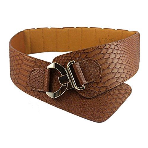 WENDYWU Wide Ladies High Waist Croco Print Leather Fashion Belt Waist Belt (Brown)