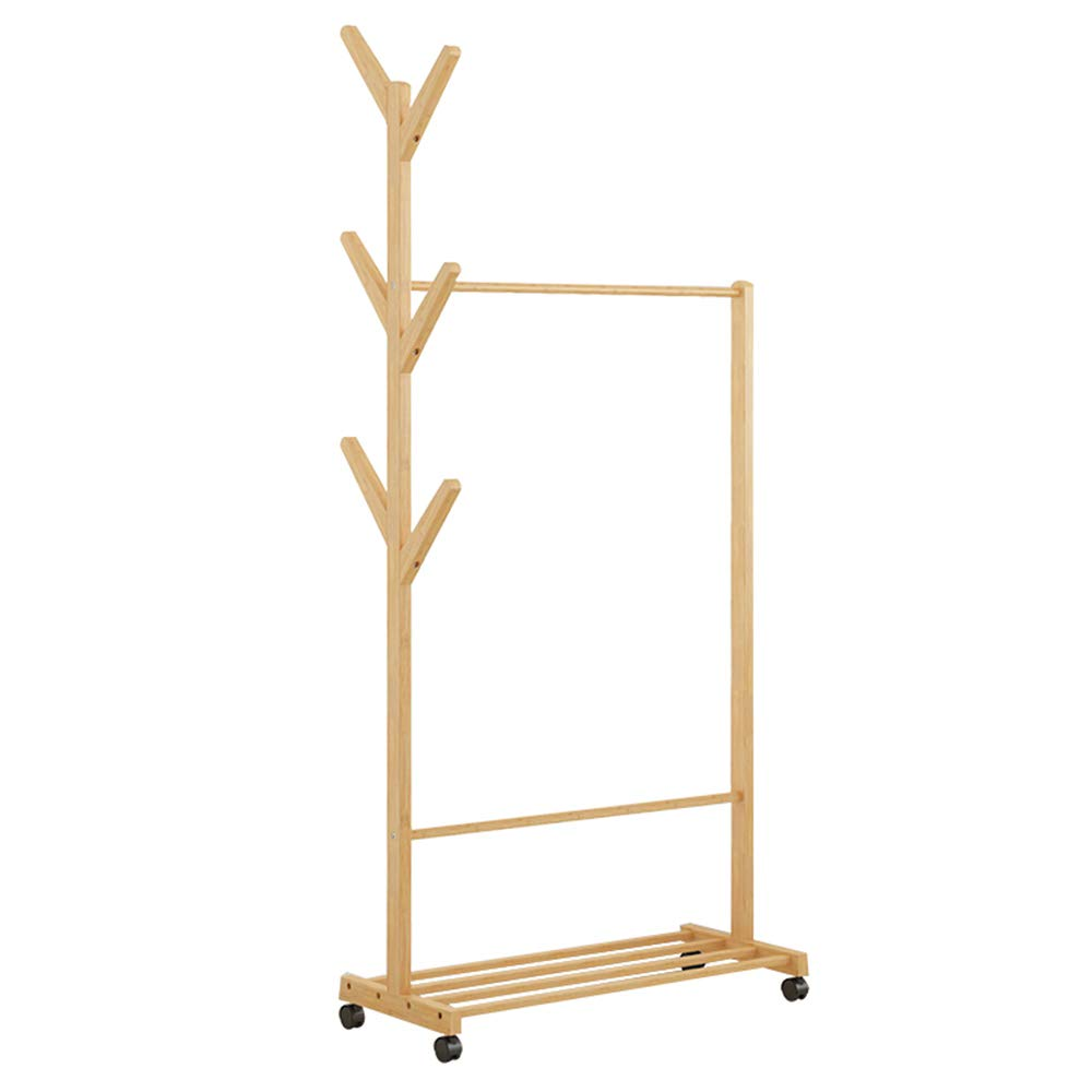 A 80Cm HHXD Solid Wood Floor Standing Coat Stand,Bedroom Multi-Functional Living Room Storage Storage Rack Bamboo It Can Move Coat Rack Stand,Convenient Practical Durable A   70Cm