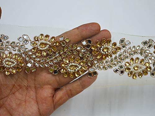 - 2 Inch Wholesale Exclusive Kundan Saree Border Gold Trim by 9 Yard Laces and Trims Indian Decorative Trimmings Ribbon Indian Gold Sari Border
