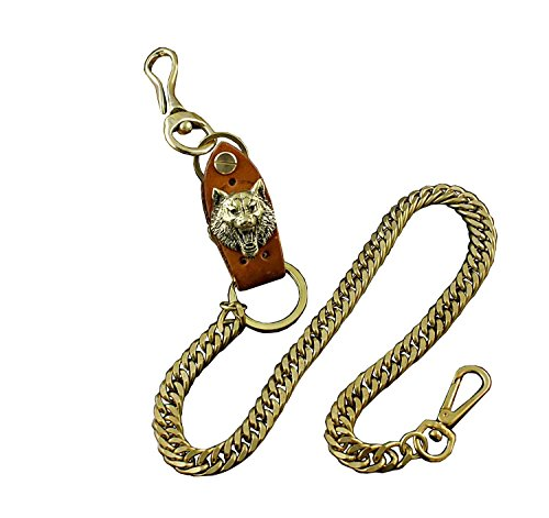 - Wolf Solid Brass Huge Heavy Pants Biker Vintage Wallet Chain Jeans Keychain