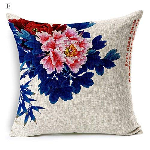 Soft Pillow Home UK-Chinese Peony Flower Pillow Living Room with Sofa Bedside Cushions Office Fluid Systems Flax Pillow 1818inch (Color : E)