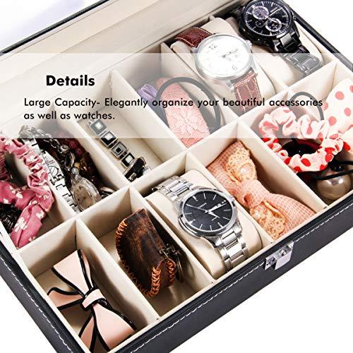 Estuches para relojes, caja de reloj Ohuhu con 12 ranuras Reloj de cuero de la PU Organizador, cumpleaños Regalos para madres Día de San Valentín Regalos, Negro - Beige