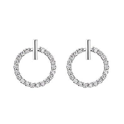 269d52e1ea6a Multi-Earring pendientes tous temperamento anillo 925 aguja de plata  esterlina redondo diamante plata  Amazon.es  Joyería