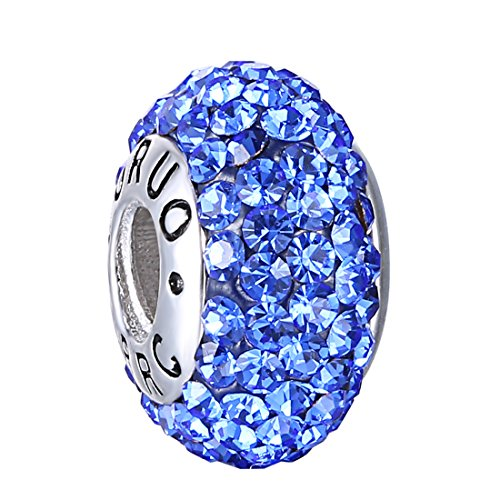 Boruo Charms 925 Sterling Silver Czech Crystal Sapphire Glass Ball Beads Spacers September Birthstone Threaded Core Charm Fit Pandora Bracelets.