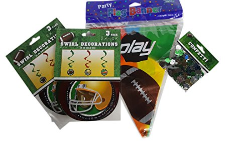 (4) Four Item Football Birthday Tailgating Party Decor Bundle Set - Flag Banner, (2) Two Swirl Decorations and Confetti (Tailgating Decorations)