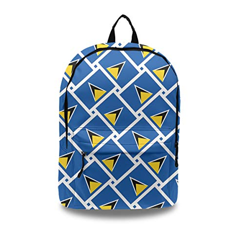 Artificial Leather Laptop Bag for Women and Girls, Fashion Zipper Backpack Saint Lucia Flag Weave, Water Resistant and Large Capacity with Earphone Hole (Best Time Of Year To Travel To St Lucia)