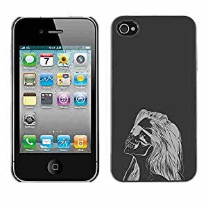 Shell-Star ( Cool Hipster Woman Skull ) Fundas Cover Cubre Hard Case Cover para Apple iPhone 4 / 4S