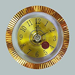 Chuang Rong 12 Inch Round Classic Clock Transparent Gold-plated Rotating Silence Quartz Decorative Wall Clock