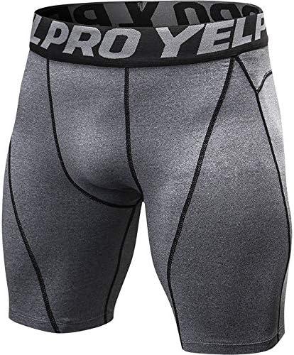 短いフィットネス 速乾性のコンプレッションショーツを実行しているメンズタイツスポーツトレーニングパンツ スポーツショーツ (色 : グレー, Size : M)