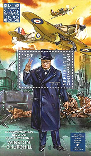 Collectible Stamps - Winston Churchill WWII Spitfire MNH Single Stamp Souvenir Sheet / Central Africa / 2015