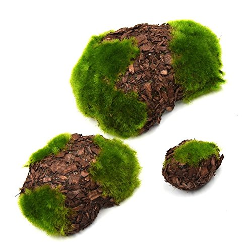 Wood Chip Green Foam Moss Stone Fake Rock Artificial Flower Pots 6pcs/set Home Garden Decoration For