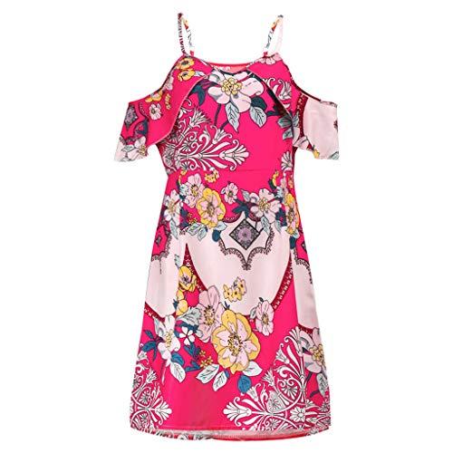 〓COOlCCI〓Womens Dresses Summer Casual V-Neck Floral Print Geometric Tie Front Spaghetti Strap Midi Dress Cover Ups Red