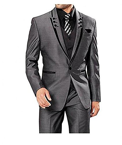 Botong Fashion Grey 3 Pieces Men Suits Wedding Suits One Button Groom Tuxedos Grey 40 chest / 34 waist