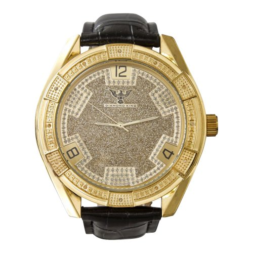 14kt Yellow Gold Mens Watch - Diamond King Men's Imperial Yellow with Yellow Dial Watch-Iced out, Jojo, Kc, super Master, Round face -14KT Yellow gold color
