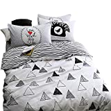 EnjoyBridal Teens Kids Bedding Duvet Cover Sets Twin Size Geometic Triangle Stripes Cotton Bedding Sets Children Bed 3 Pieces Home Textile 1 Comforter Cover with 2 Pillowshams(Twin, Triangle)