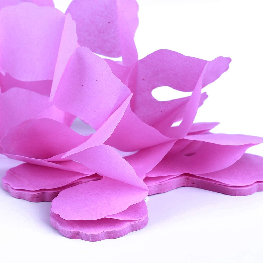 Dunkelrosa MOONQING Party Dekoration H/ängende Girlande Vierbl/ättriges Seidenpapier Blumengirlande Wiederverwendbare Party Luftschlangen f/ür Hochzeitsdekoration