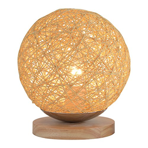 American Countryside Bedroom Bedside, Table Lamp Modern Minimalist Personality Rattan Ball Creative Art Lamp,Yellow,H22CMW18CM