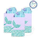 YOUTH UNION Mermaid Gift Bags, Mermaid Party Supplies Favors Goodie Bags Glitter Treat Bags for Under The Sea Party Mermaid Gifts for Girls Set of 12