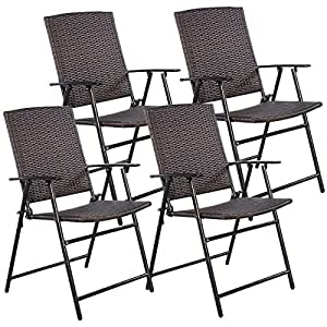 Set of 4 Brown Resin Wicker Patio Dining Chairs Folding Portable Sturdy Durable Outdoor Furniture Seating