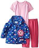 BON BEBE Baby-Girls Newborn Watch Me Grow Micro Fleece Hooded Jacket and Pant Set with Bodysuit, Multi, 6-9 Months