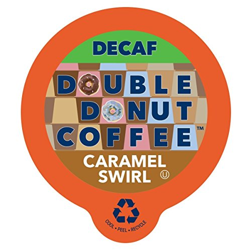 Double Donut Coffee Decaf Caramel Swirl Flavored Coffee Single Serve Cups For Keurig K Cup Brewer (96 count)