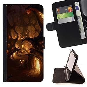 """For LG G4c Curve H522Y (G4 MINI), NOT FOR LG G4,S-type Luces de la noche de cuento de hadas de hadas Pueblo"""" - Dibujo PU billetera de cuero Funda Case Caso de la piel de la bolsa protectora"""
